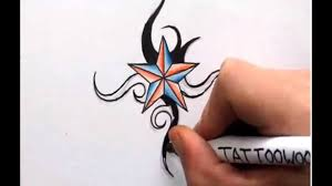 How To Draw A Star Design How To Draw A Nautical Star Shading In Color And Tribal Design