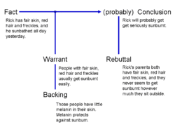 stephen toulmin   wikipediatoulmin argumentation can be diagrammed as a conclusion established  more or less  on the basis of a fact supported by a warrant    backing