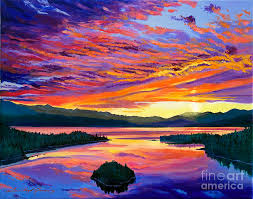mountain sunset painting paint brush sky by david lloyd glover