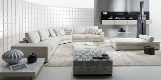 contemporary domino living room with white leather sofa and pillows white rug white bed sofa and glass coffee table image