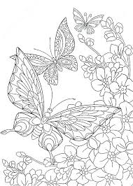 Coloring Pages Of Flowers And Butterflies Butterflies And Flowers
