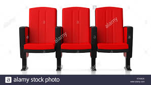 red theater chairs. Red Theater Chairs Isolated On White Background, Front View. 3d Illustration D