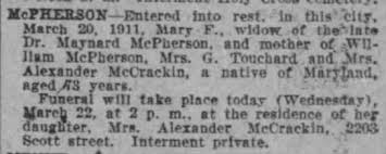 Death of Mary Pottinger Fitzhugh McPherson on 20 Mar 1911 in San ...