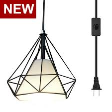 Vintage Plug In Lights Us 27 28 24 Off Ganeed Plug In Pendant Light Industrial Hanging Pendant Lights With Metal Cage Shape Vintage Hanging Light Fixture With 16 4ft C In