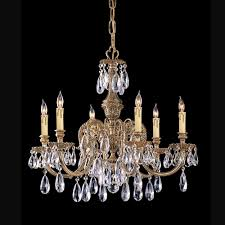 6 lights cast brass chandelier accented w crystal