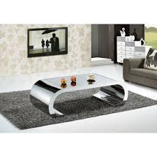 brown coffee table glass top chrome legs with drawer living room