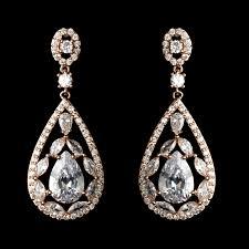 rose gold clear multi cut teardrop cz crystal chandelier bridal wedding earrings 7769