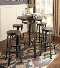 round bistro table and chairs wood plank 5 piece pub table set industrial rustic inspired bistro round bistro table