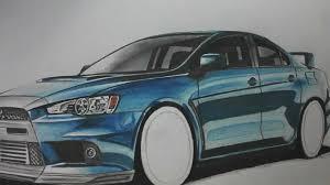 Mitsubishi Evo Drawing step by step - (autozeichner.com) - YouTube