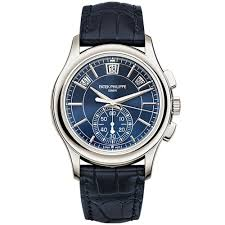 patek philippe watches at berry s jewellers annual calendar chronograph platinum blue dial automatic men s leather strap watch