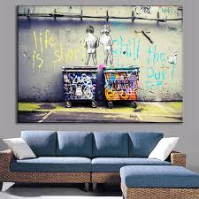 modern canvas art. 1 Pcs Modern Banksy Art Life Is Short Chill The Duck Out Wall Cheap Kids With Dustbin Painting Prints On Canvas Home Decor-in \u0026 Calligraphy