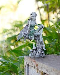 garden fairies statues. Accessories: Crouching Fairy Statue Bronze Look Outdoor Garden Statues - Fairies