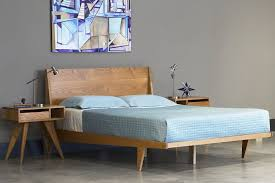 platform bed mid century solid wood handmade modern bedroom furniture in midcentury design 0