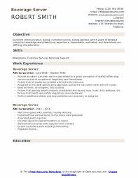 Server Experience Resume Examples Beverage Server Resume Samples Qwikresume