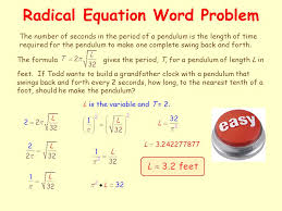 radical equations an equation in which the variable appears under quadratic equations word problem
