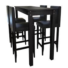 Set de 1 Table bar + 4 Tabourets Noir pour salle à manger Salon hall ...