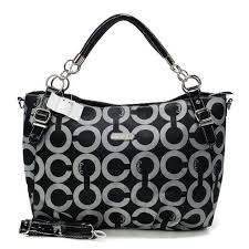 Coach Chain Logo In Monogram Small Black Totes BOS
