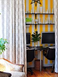 curtains for home office. inspiration for an eclectic medium tone wood floor home office remodel in new york with multicolored curtains r