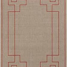beige and red greek key outdoor rug