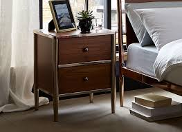 vegas white glass mirrored bedside tables. Calvert 2 Drawer Bedside Chest - Walnut And Copper Vegas White Glass Mirrored Tables B