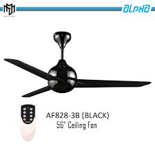 alpha ceiling fan 56 3 blades black malaysia