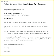 Follow Up Email After Sending Resume Examples Follow Up Letter After Resume Submission Blaisewashere Com