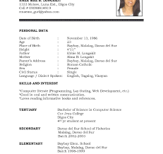 Sample Simple Resumes Examples Of Resumes Simple Resume Sample Student Format For 23