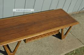 mid century modern lane coffee table with woven wood drawer vintage refinished