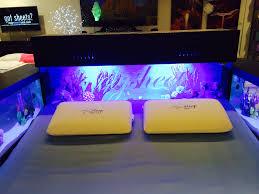 Impressive Bedroom Interior Design Ideas With Fish Tank Aquarium Bed Using  Grey Linen And Yellow Pillow ...