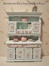miniatures dollhouse furniture. miniature dollhouse shabby chic pastel blue kitchen hutch dresser with rose print on panels 1 miniatures furniture e