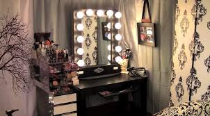 charming makeup table mirror lights furniture mirrored lighted make vanity black wooden finish with pull out