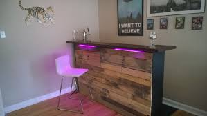 diy rustic bar. I Ended Up Using Some Scrap Pallet Wood To Fill In The Missing Piece. You Can Also See Shelf Brackets Placed Upside Down Add Stability Base Of Diy Rustic Bar