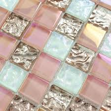 mirror bathroom crystal glass tile sheets square iridescent mosaic metal