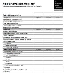 College Comparison Chart 6 College Comparison Worksheets Word Templates