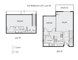 2 bedroom loft. Floor Plan - 2 Bedroom Loft