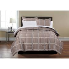 mainstays beige plaid bed in a bag coordinating bedding set com