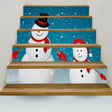 Two Christmas Snowmen Printed Decorative Stair Stickers