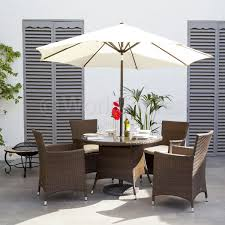 round rattan garden table and chairs glass dining wicker with