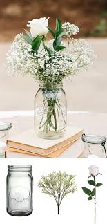 Make this simple DIY vintage rustic centerpiece with mason jars, baby's  breath, and silk
