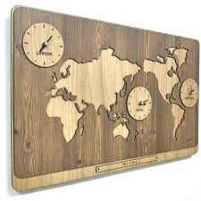 world wall clock wooden world map clock has 3 time zones wall vintage decoration on the
