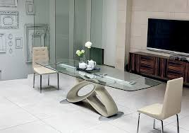 stylish and contemporary rectangular gl dining table with curved base