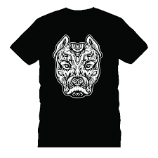 Pitbull Tattoo Art Dog Breed Skull Piston Dtg Mens T Shirt Tees Knitted Comfortable Fabric Hipster O Neck Cool Tops Comical T Shirts T Shirt With From
