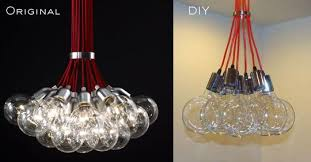 instructable bare bulb designer light fixture diy glass bubble chandelier