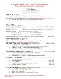 Undergraduate Student Resume Sample