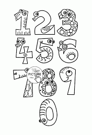 Small Picture Monster Numbers coloring pages for kids counting numbers