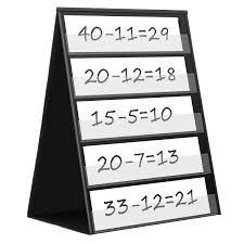 Maigicfly Double Sided Tabletop Pocket Chart Self Standing Desktop Pocket Chart With 20 Dry Erase Cards For Small Group Usage In Classroom And Office