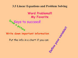 3 5 linear equations and problem solving word problems my favorite