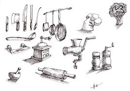kitchen utensils drawing. Kitchen Tools Drawing Fine Cooking Utensils E In Decorating Ideas