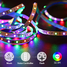 Beat Sync Lights Uk Led Music Strip Lights Goorry 32 8ft Rgb Sync To Music Color