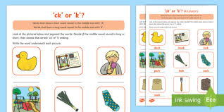 The y1 phonics screening check tests children's knowledge of phonics with a mixture of real and nonsense words. Sound Of Letter C And K Words Ending In Ck Or K Activity